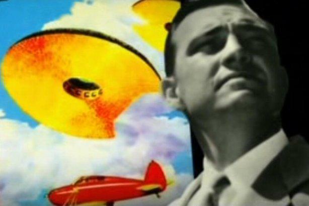 voici une oeuvre représentant kenneth arnold,son avion et un des ovnis qu'il aurait aperçut
